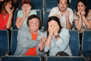 Movie theater people with psychological horror