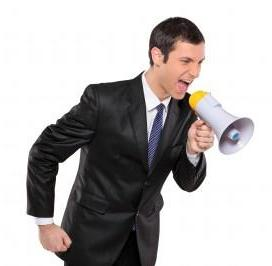 Secret agent with megaphone